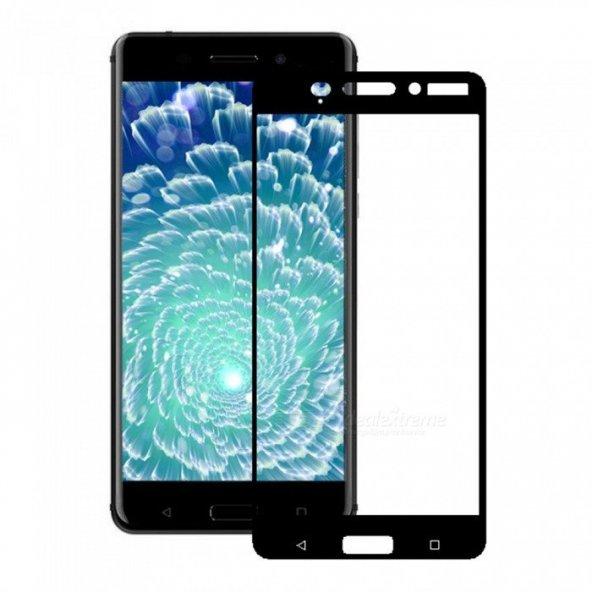 Nokia 6 Kırılmaz Cam Siyah Temperli Ekran Koruyucu Kenarları Tam Kaplayan