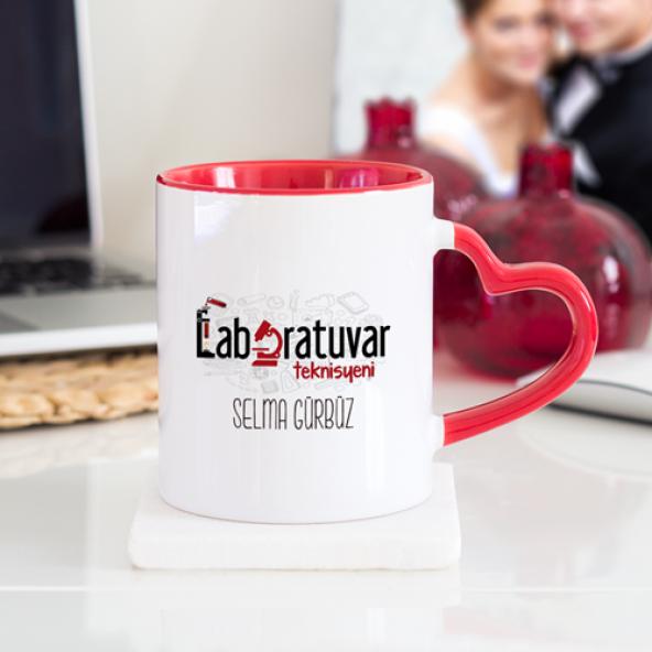 Kişiye Özel Laboratuvar Teknisyeni Kalpli Kupa Bardak - Kırmızı