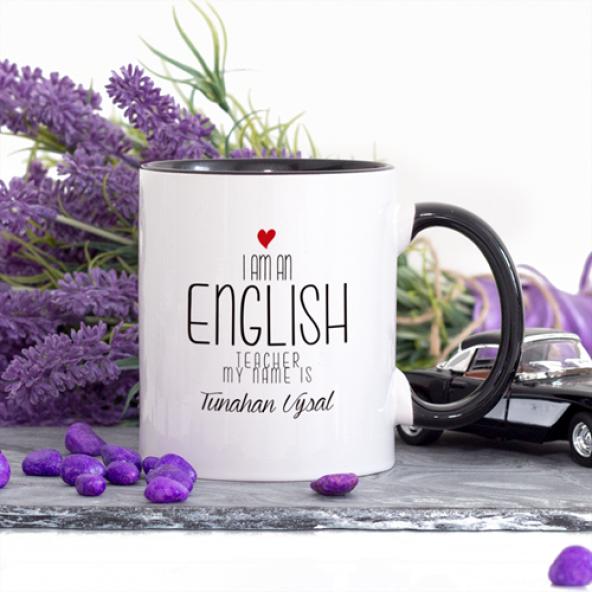 Kişiye Özel Lacivert Renkli İngilizce Öğretmeni Kupa Bardak