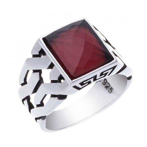 925 Ayar Gümüş Kırmızı Zirkon Taşlı Örgü Model Erkek Yüzük