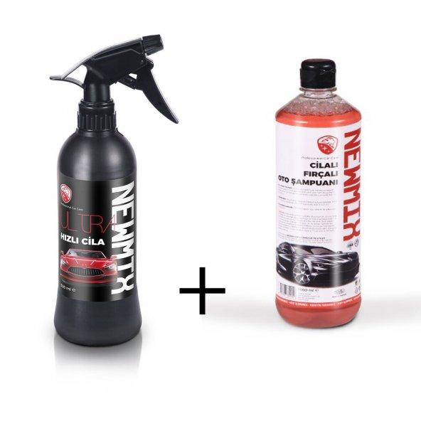 NEWMİX Hızlı Cila - 500 Ml-Cilalı Fırçalı Oto Şampuanı-1000 Ml