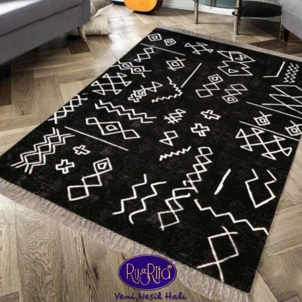 RugRita Siyah Beyaz Geometrik Şekilli Yumuşak Yüzey Halı