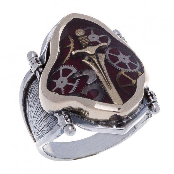 925 Ayar Gümüş Mineli Kılıç Desenli Yüzük