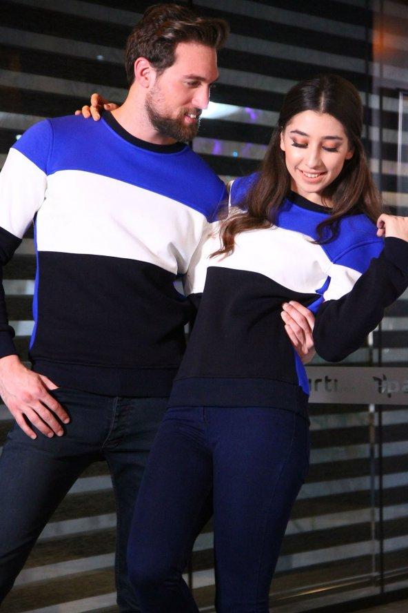 Sevgili Kombinleri Parçalı Desenli Sweatshirt