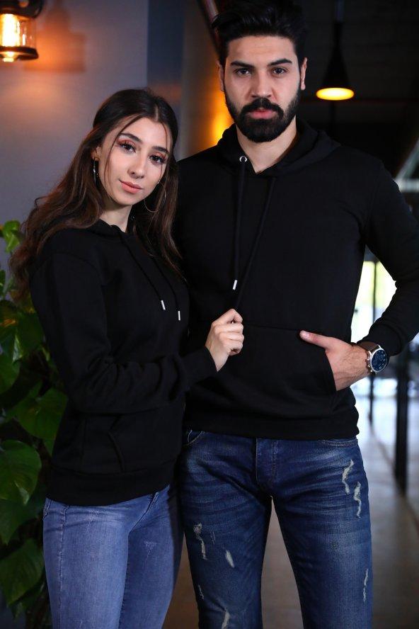 Sevgili Kombinleri Siyah Kapşonlu Kanguru Cepli Sweatshirt