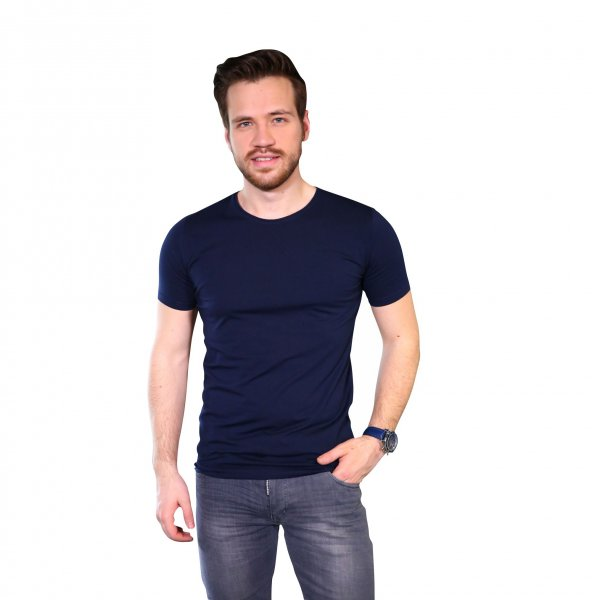 Lacivert Tshirt Bicycle Yaka Kısa Kollu Basic Slim Fit