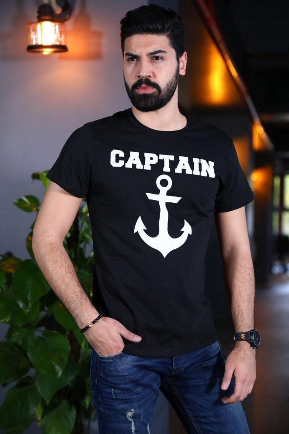 Captain Tişört Siyah Bicycle Yaka Tshirt Kısa Kollu T-shirt