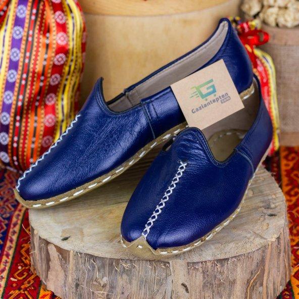 Mavi Renkli Beyaz Dikişli Deri Bayan Erkek Yemeni Günlük Ayakkabı