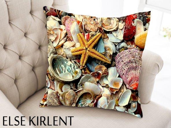 ELSE Deniz Kabukları Dijital Dekoratif Yastık Kırlent Kılıfı