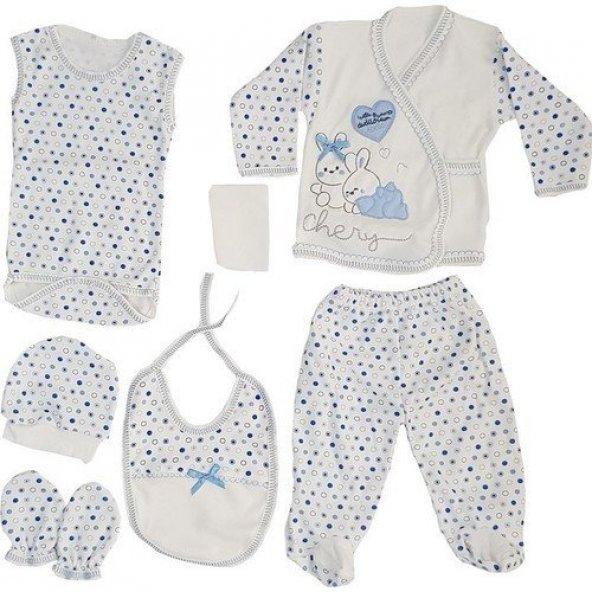 Chery Açık Mavi 7 li Erkek Bebek Hastane Çıkış Seti