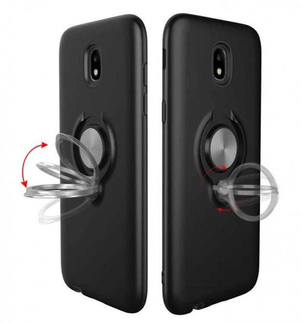 Samsung Galaxy J7 Pro J730 Ring Youyou Yüzüklü Kılıf + Cam