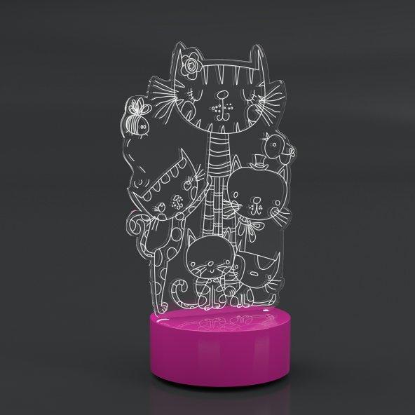 5412105 El Yapımı Ahşap 3D Lamba Afacan Kedi