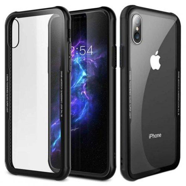 Apple iPhone X Kılıf Craft Arkası Cam Kapak + Ekran Koruyucu Cam