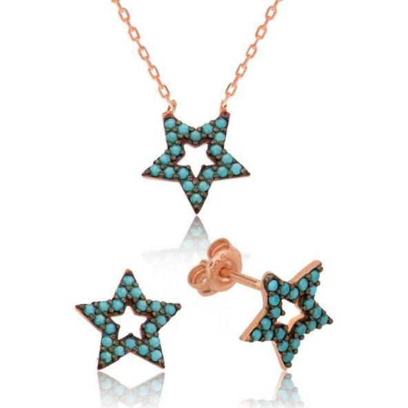 Mavi Yıldız Bayan Pirmoda Gümüş Set