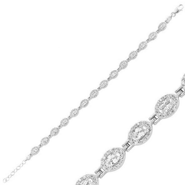 Beyaz Taşlı Su Yolu Bayan Pirmoda Gümüş Bileklik