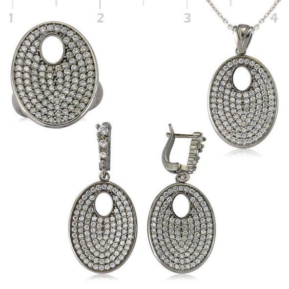 Beyaz Taşlı Oval Bayan Pirmoda Gümüş Set