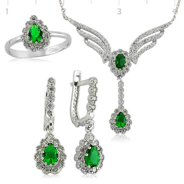 Yeşil Taşlı Kanat Bayan Pirmoda Gümüş Set