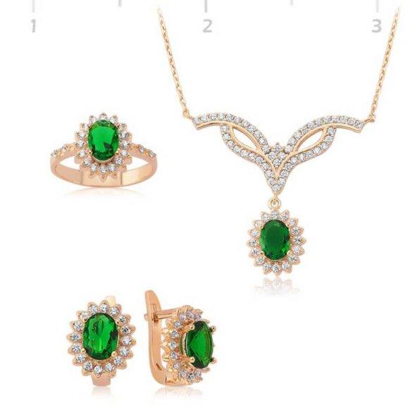 Yeşil Taşlı Çiçek Bayan Pirmoda Gümüş Set