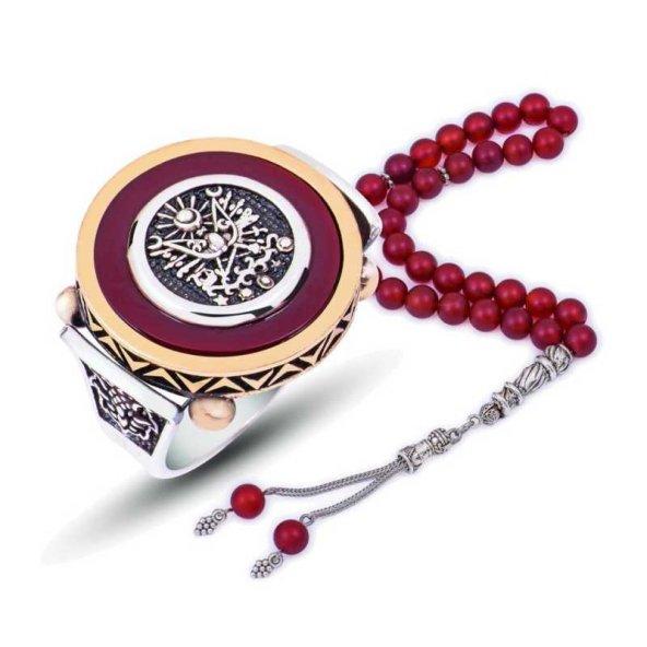 Abanoz Taşlı Osmanlı Arması Pirmoda Gümüş Yüzük