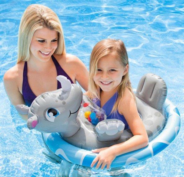 Oyuncaklı Ayak Geçmeli Oturaklı Bebek Simidi Gergedan Bebe Float