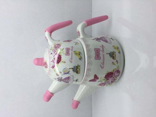 Peratti Desenli  Porselen Çaydanlık