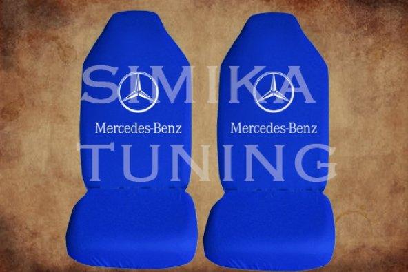MERCEDES Sax Mavi Penye Kılıf Ön Arka Koltuk 2 Adet Emoji Yastık