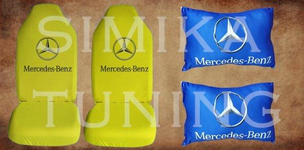 MERCEDES Sarı Renk Penye Ön Koltuk Kılıf + Boyun Yastığı