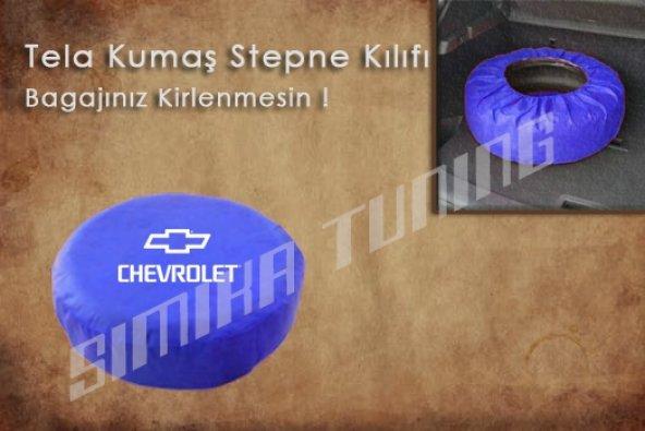 Chevrolet Mavi Renk Tel Kumaş Stepne Kılıfı 3 Sticker HEDİYE