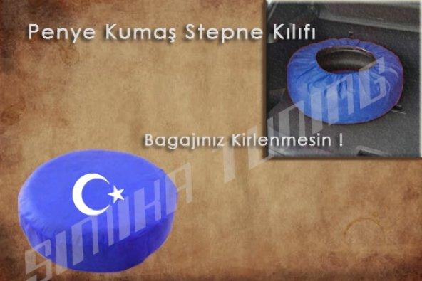 Ay Yıldız Sax Mavi Renk Penye Kumaş Stepne Kılıfı 3 Sticker HEDİ