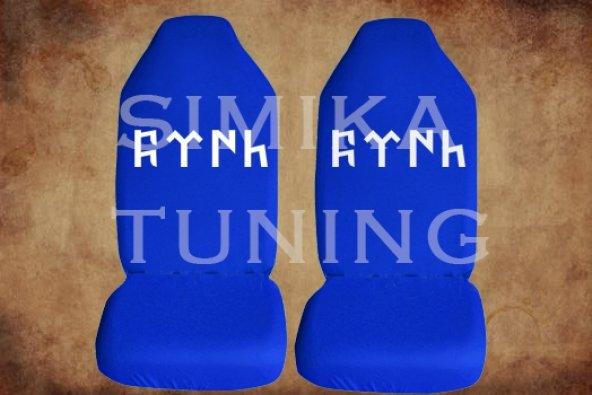 Göktürk Sax Mavi Renk Ön Koltuk Penye Kılıf 1 Sticker HEDİYE