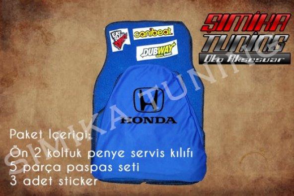 Honda Sax Mavi Renk Ön Penye 5 Parça Paspas 3 Sticker