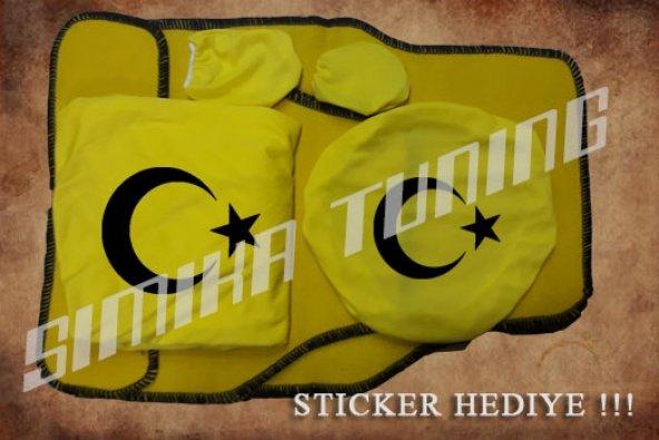 Ay yıldız Sarı Ön Arka Koltuk Direksiyon Seti Paspas Sticker