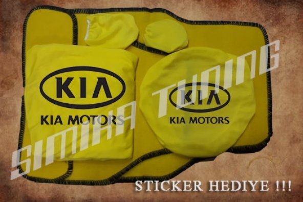 Kia Sarı Ön Arka Koltuk Direksiyon Seti Paspas Sticker