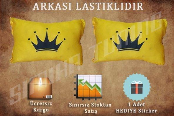 King Sarı Renk 2'lı Boyun Yastığı STİCKER HEDİYELİ