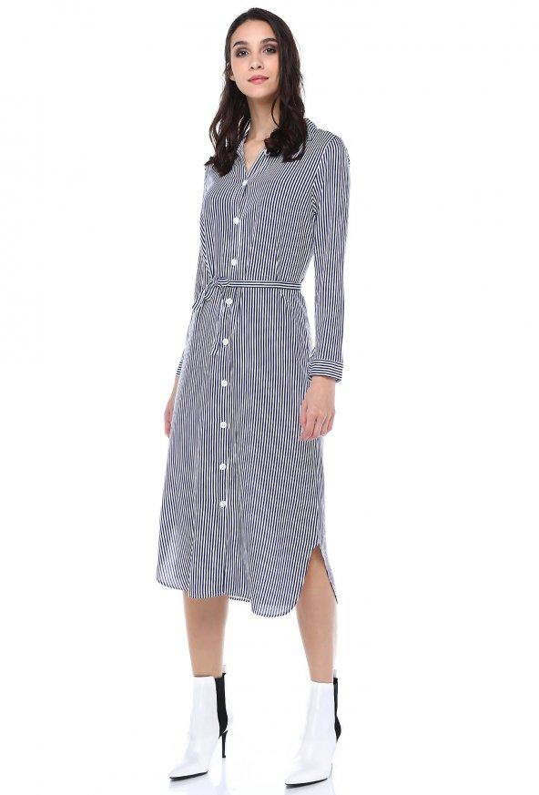 MisellH&K Uzun Kollu İnce Çizgili Kuşaklı Viskon Elbise 0331