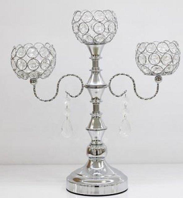 3lü Kollu Kristal Taşlı Metal Gümüş Top Model Şamdan & Mumluk