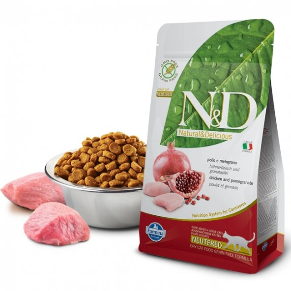 N&D Tahılsız Tavuklu ve Narlı Kısırlaştırılmış Kedi Maması 10 Kg