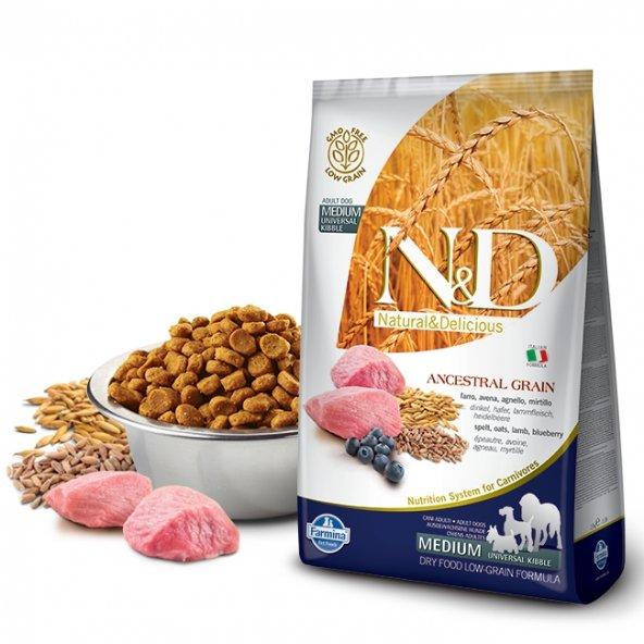 N&D Düşük Tahıllı Kuzu/Yaban Mersini Orta Irk Yetişkin Köpek Maması 2,5 Kg