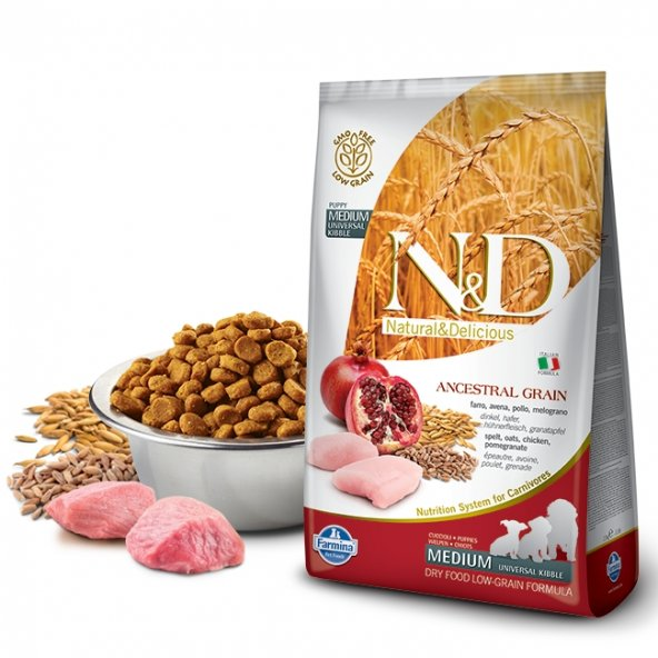 N&D Düşük Tahıllı Tavuklu/Narlı Orta Yavru Köpek Maması 2,5 Kg