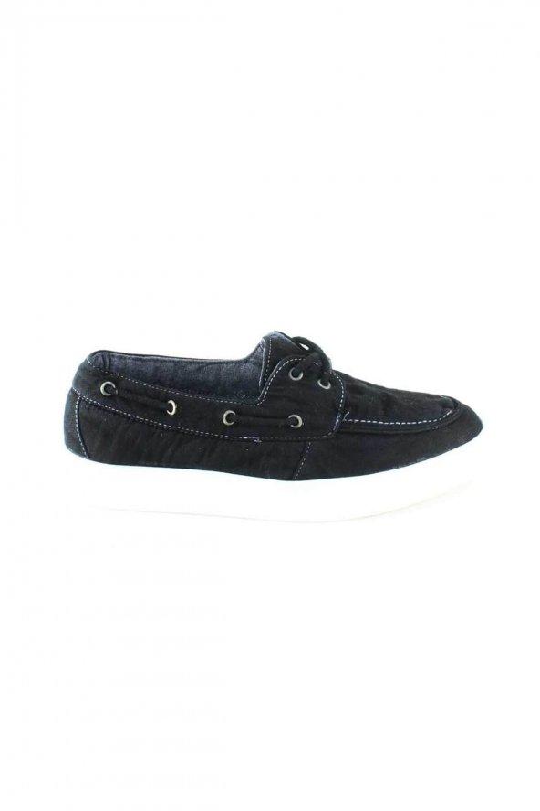 Siyah Spor Keten Bayan Ayakkabı Linen