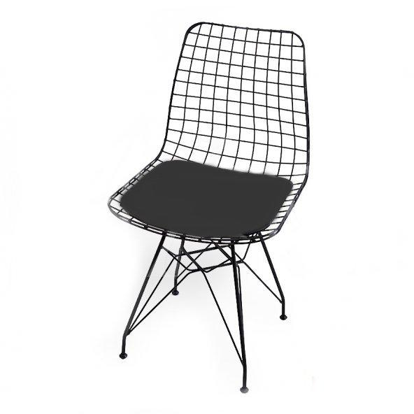 Kafes Tel Sandalye  Siyah