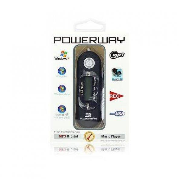 Powerway PW-01 2 GB Ekranlı Ses Kayıt Pilli Mp3 Çalar + Kulaklık