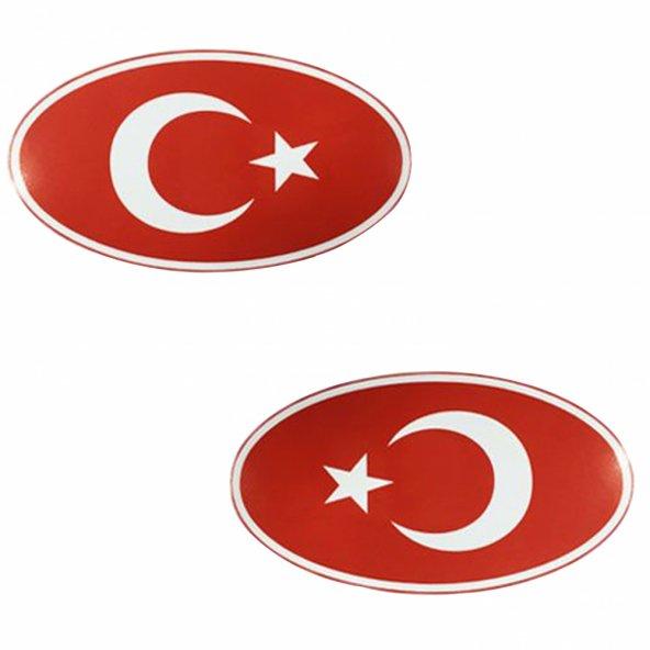 Türk Bayrağı Yuvarlak Orta Oto Sticker 1 Takım 9cm*16cm BOSSE