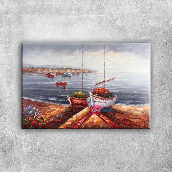 Renkli Kayıklar, Yelkenliler Deniz Manzarası 5 Sanat Canvas Tablo