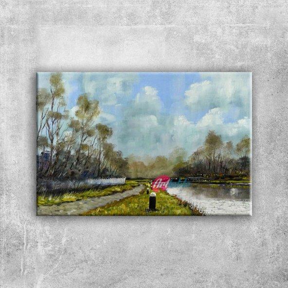 Orman Nehri Doğa Manzarası 3 Yağlı Boya Sanat Kanvas Tablo Epttavm
