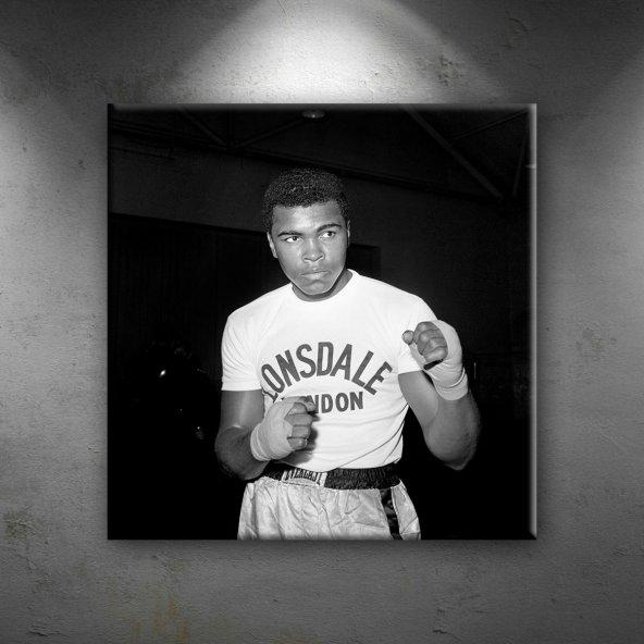 Muhammed Ali Boks-6 Siyah Beyaz Dekoratif Kanvas Tablo