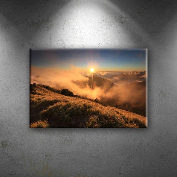 Sis, Güneş ve Doğa Manzarası Dekoratif Canvas Tablo