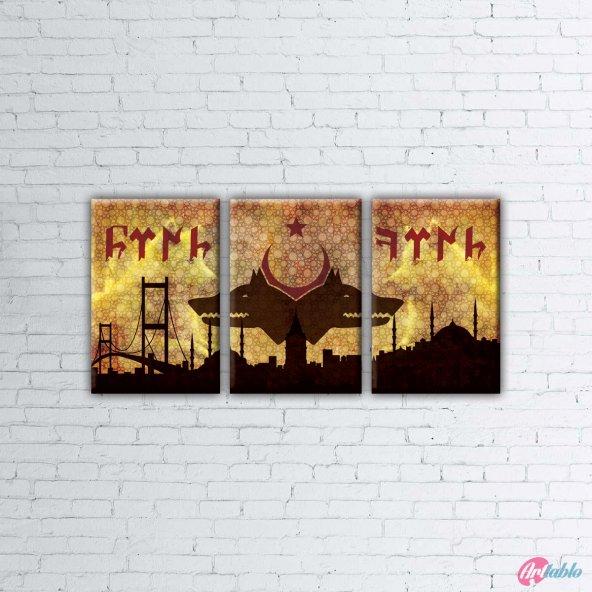 Doğu ve Batı Fatihi Göktürkler Kızıl Elma Parçalı Kanvas Tablo - 3 Parça - 3P0001 - 75 x 150 CM