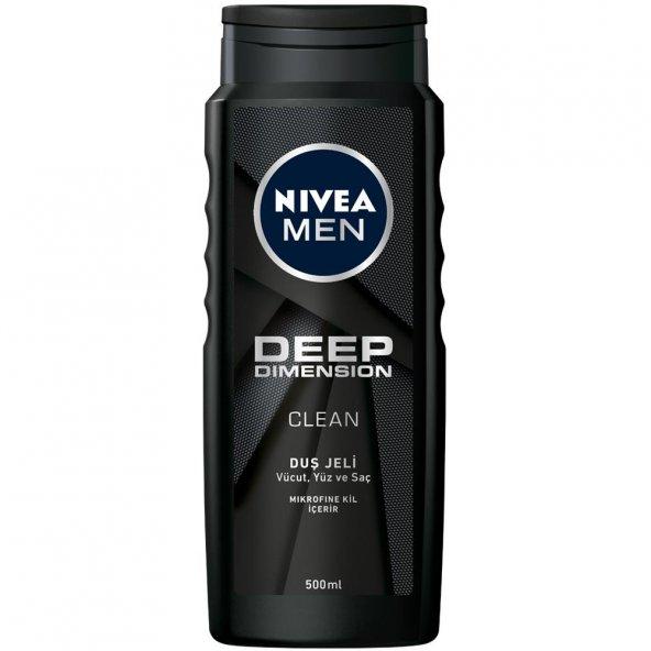 Nivea Men 500 ml Duş Jeli Deep Dimension Clean Mikrofine Kil