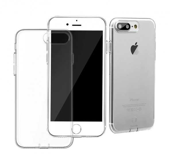 Baseus (With-Pluggy) Simple serisi Kılıf iPhone 7 Plus / 8 Plus Şeffaf